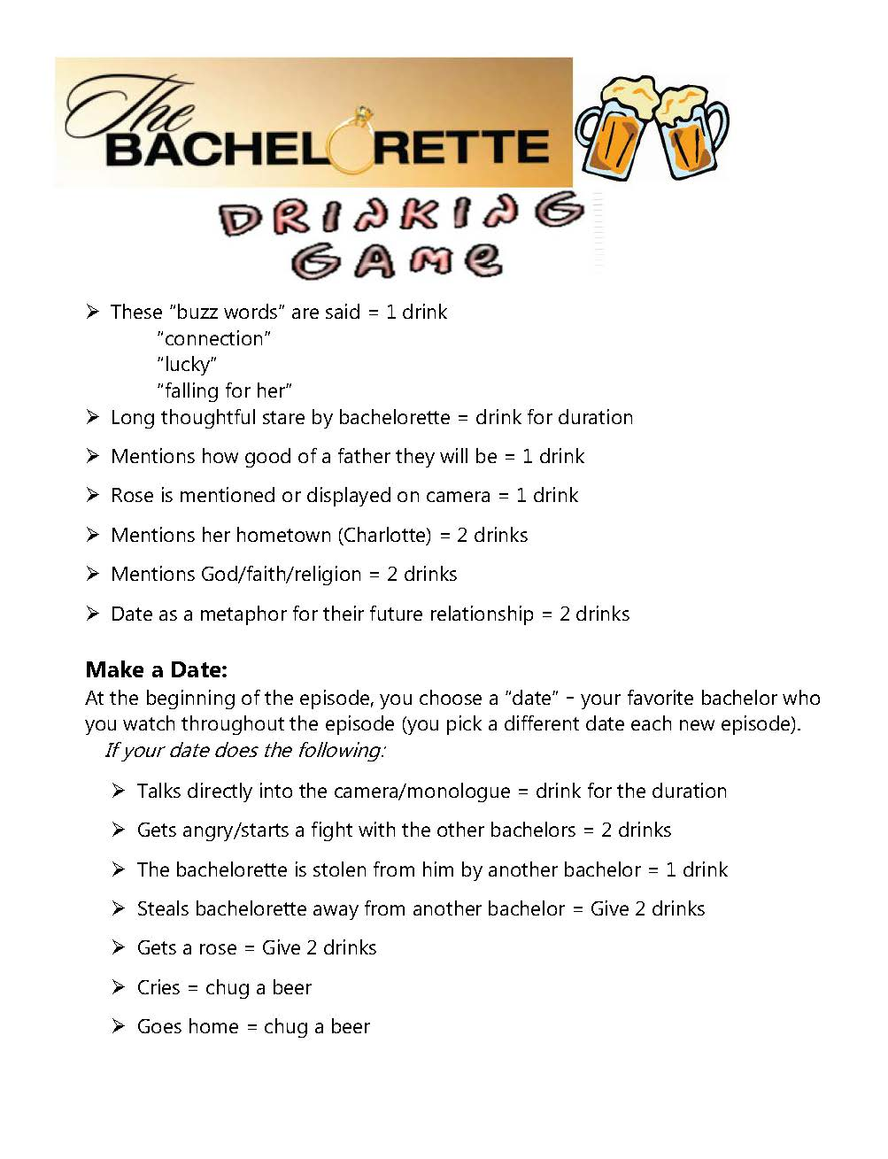 Bachelorette Tv Show Drinking Game