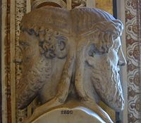 "The Roman God ""Janus"" - god of beginnings and endings.  This is where the month January comes from, as we look back at the past year and forward to the new year to come..."