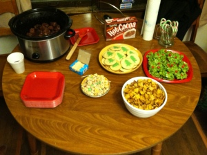 Wreath cookies, Chex mix, cookies, and meat balls.