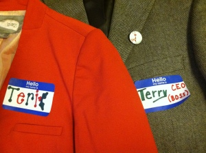 "Christmas blazers. Terry with a ""y"" and Terri with an ""i"".  I was the CEO/boss man."