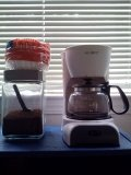 coffee station.  ps. with a classy glass jar, no one will know it's the cheap stuff!