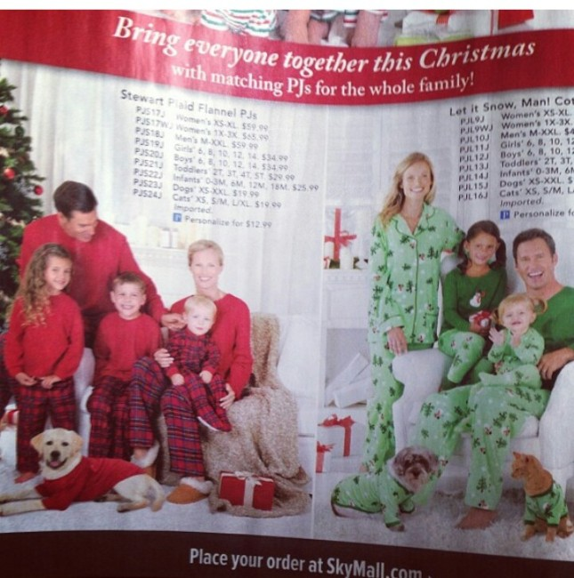 sky mall matching family pajamas