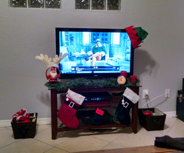 even the tv area is decorated...perfect for watching ELF