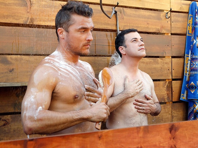 Jimmy Kimmel showers on the bachelor