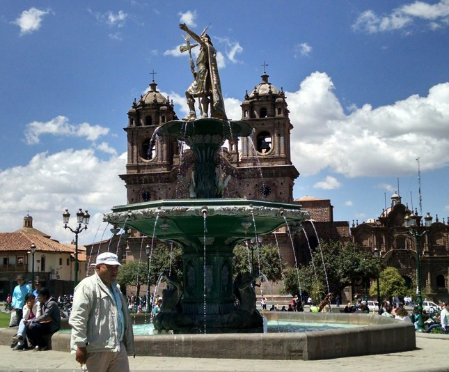 plaza de armas fountain cusco peru